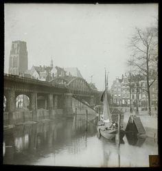 Rotterdam around 1900 - Kolkkade with rail bridge and St. Laurens church (Gemeentearchief Rotterdam)