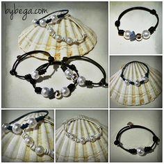 Pulseras cuero nudos y perlas ♥