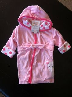 Carter's Just One You Pink Hooded Baby Bathrobe - http://baby.goshoppins.com/bathing-grooming/carters-just-one-you-pink-hooded-baby-bathrobe/