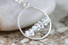 Hand Formed White Topaz Argentium Sterling Silver Loop Hoop Circle Adjustable Pendant Necklace - Hailey, by PrincessTingTing, $45.00