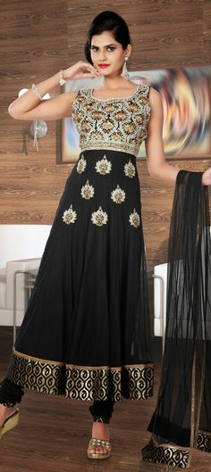 422794: ALL BLACK - check out this designer #anarkali form our new collection. Like it?  #Partywear #IndianFashion #FlowerPower