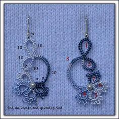 Chiacchierino schemi - Tatting free pattern - frivolitè - gratis - qualcosadime by Tatting Earrings, Tatting Jewelry, Tatting Lace, Crochet Earrings, Lace Jewelry, Shuttle Tatting Patterns, Needle Tatting Patterns, Needle Tatting Tutorial, Tutorial Crochet