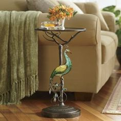 Bejeweled Peacock Accent Table