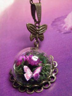 Glass Dome Mini Terrarium with Moss Fuchsia by FairyTalesNest