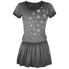 Dress from R.E.D. by EMP:  - Oil-washed - Front print - With elasticated waist - Vintage style - Crew neck - Short sleeves  The Stars Rising Dress from R.E.D. by EMP is a fashionable 2-in-1 look. The upper part is designed like a shirt, which is printed in the front with stars. But the bottom part is a sexy mini skirt with pleats and an elasticated waist. The fashionable vintage look is also particularly striking.