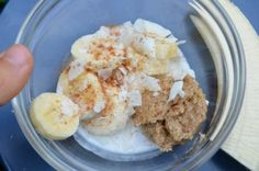 BANANAS WITH ALMOND BUTTER AND COCONUT (quick, filling snack for 2) #vegan #vegetarian #paleo