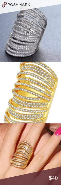 Wide gold or platinum plated Swarovski embellished Beautiful wide gold or platinum plated middle finger ring embellished with Swarovski crystals, first quality size 8 Jewelry Rings