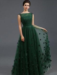 Solid Color Stereo Flower Sleeveless Tulle Elegant Dresses,.sleeveless green evening dresses,homecoming dresses on Storenvy