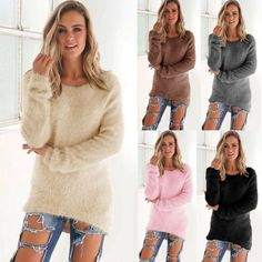 Winter Womens Warm Long Sleeve Crew Neck Top Pullover Sweater Jumper Sweatshirt