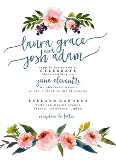 Garden Wedding Invitation Suite DEPOSIT - DIY, Rustic, Chic, Watercolor…