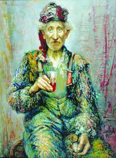 """""""Red Wine"""" painting, oil by Andrey Smolyak (love the colors, the trousers and the face)"""