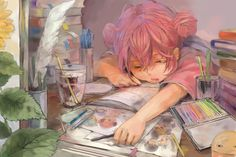 Anime picture with gintama sunrise (studio) kagura (gintama) yama tan single open mouth pink hair eyes closed sleeping girl flower (flowers) water book (books) window leaf (leaves) feather (feathers) table paper room glass Kawaii Anime Girl, Anime Art Girl, Manga Art, Anime Girls, Anime Chibi, Manga Anime, Art And Illustration, Illustrations, Art Sketches