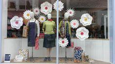 Our handmade paper flowers windows at Seasalt