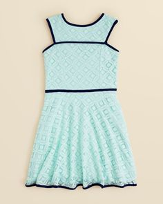 Sally Miller Girls' Lace Dakota Dress - Sizes 7-14 | Lace: cotton/nylon; lining: polyester; binding: polyester/spandex | Machine wash | Imported | Round neck, sleeveless | Contrast binding | Square ba