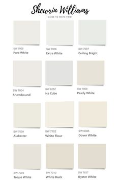 Sherwin Williams Guide to White Paint Colors The Complete Step- by- Step Guide to Choosing White Paint + the Best Sherwin Williams White Paint Colors in 2020 Farmhouse Paint Colors, Exterior Paint Colors, Paint Colors For Home, House Colors, Off White Paint Colors, Gray Paint, Exterior Design, Beach Paint Colors, Trim Paint Color