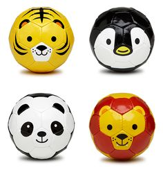 Fun and Cute animal soccer balls from Sfida. Unfortunately u would have to kick the cute little animal in the face.