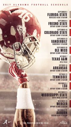 It's going to be a great season! Alabama Football Schedule, Football Program, Football Ads, Football Calendar, College Football, Crimson Tide Football, Alabama Crimson Tide, Roll Tide, Football Tattoo