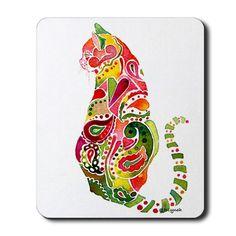 cat artwork paisley | Artwork Gifts > Artwork Home Office > Paisley Cat Pink & Green ...