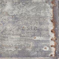138218 HD vliesbehang metalen platen licht grijs en roest
