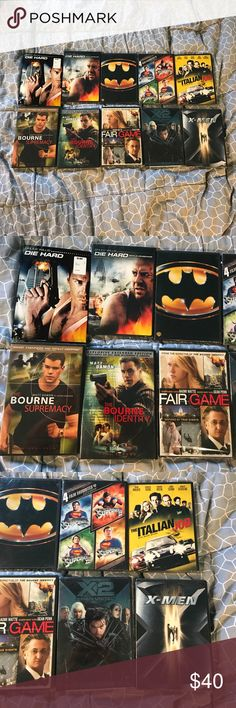 Brand New Sealed Action DVD's - Set of 10! Sealed in the original plastic, never opened or used.. 10 brand new DVD's! Titles include - Die Hard // Die Hard with a Vengeance // Batman // Superman 4 Film Favorites (Superman I-IV) // The Italian Job // The Bourne Supremacy // The Bourne Identity // Fair Game // X-Men // X2 X-Men United Other