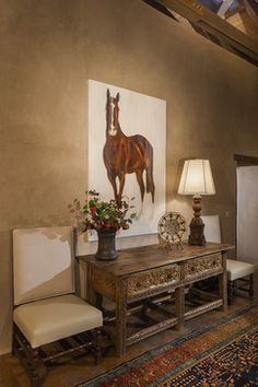 I love this look and the art Arizona Homestead - traditional - entry - phoenix - Robinson Perry Design Group LLC