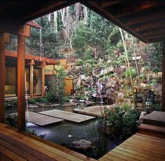 15 Unique Garden Water Features WATER FEATURE - This garden, designed by David Hertz, takes advantage of the natural landscape of Yachats, Oregon, and combines it with the simplicity of Asian garden design. Photo by David Papazian Asian Garden, Balinese Garden, Outdoor Rooms, Outdoor Living, Indoor Outdoor, Indoor Pond, Outdoor Privacy, Outdoor Tiles, Outdoor Patios