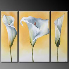 Cuadros Long Painting, Acrylic Painting Flowers, Acrylic Art, Watercolor Flowers, Watercolor Paintings, 3 Canvas Paintings, Canvas Art, Art Floral, Pictures To Paint
