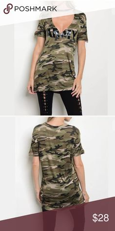 """Camo Army Choker Tunic Short Sleeve T-Shirt Top Featuring a longer t-shirt tunic style top. Fun camouflage print in shades of green. Deep low cut v-neckline and shiny black almost liquid letter looking word """"ARMY"""" across the bust. Long style short sleeves. Soft comfortable material. Made in USA.   Made of: 95% Rayon & 5% Spandex  ** Please note this top is pre-order and will ship in approx. 7 business days ** Tops Tunics"""