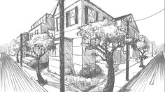 Explore the basics of two-point perspective drawing, including asymmetrical and symmetrical perspectives, and learn to draw interior and exterior scenes more accurately. Drawing Photoshop, Drawing Tips, Fantasy Girl, 2 Point Perspective Drawing, Perspective Art, 2 Point Perspective City, Architecture Design, Drawing Architecture, Art Nouveau