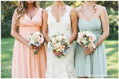 Bridesmaids dresses by Donna Morgan Collection in Peach Fuzz and Mint.