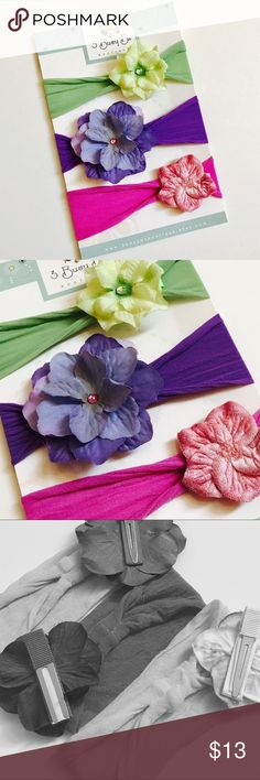 Set of 3 Nylon Flower Baby Headbands Interchangeable Flower HEADBANDS!    ♥♥♥♥♥SET OF 3♥♥♥♥♥     ♥You will receive all 3 Headbands shown in the first picture!                                                            ♥FLOWERS ARE ATTACHED TO A PARTIALLY LINED ALLIGATOR CLIP SO ARE REMOVABLE FROM THE HEADBAND AND CAN BE WORN ALONE AS WELL.     ♥NYLON HEADBAND IS A SOFT NYLON STRETCH, IT HAS A BULIT IN LOOP SO CLIPS CAN SLIDE EASLIY ON AND OFF MAKING IT COMPLETELY INTERCHANGEABLE!   WILL FIT…