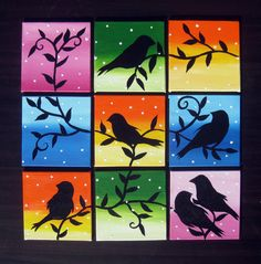 small custom made set of paintings can be rearranged by SuchFlair Multi Canvas Painting, Bird Paintings On Canvas, Mini Canvas Art, Mini Paintings, Poster Color Painting, Oil Pastel Drawings, Art Diary, Cute Cartoon Wallpapers, Tree Art