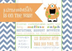 Little Monster Baby Shower Invitation by EmmyJosParties on Etsy, $12.00