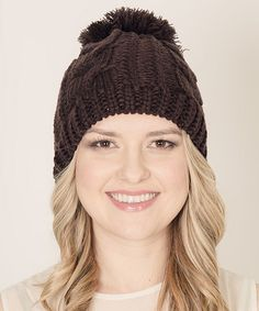 Another great find on #zulily! Brown Warm & Caring Pom-Pom Beanie by Stay Warm In Style #zulilyfinds