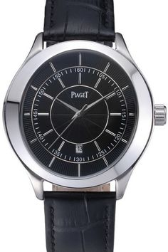 Cheap Replica Piaget Gouverneur Black Dial Polished Stainless Steel Case Watch With Black Leather Strap