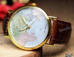 Mens Wristwatches World Maps Watch ..