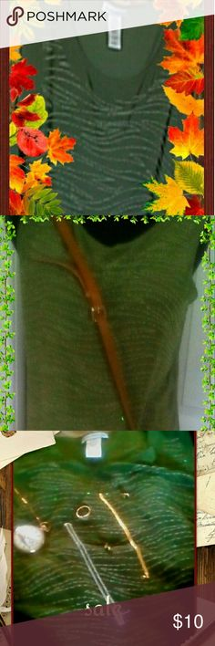 Olive Green Embroidered Blouse  (Final Sale) Olive green sleeveless Embroidered blouse. The design is a curved line one made from Embroidered beads which is concentrated on the front of the blouse. Tops Blouses