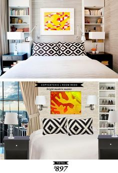 A modern masculine bedroom featured in @domainehome and recreated for $897 by @lindseyboyer for Copy Cat Chic