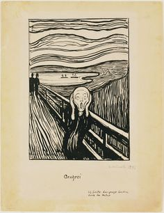 "Edward Munch 1896 ~ lithograph~ handwritten beneath the image of the figure on a bridge is the title of the work in German—""Geschrei""—and, in the lower right-hand corner, the phrase ""Ich fühlte das grosse Geschrei durch die Natur"" (I felt the great scream in nature)."