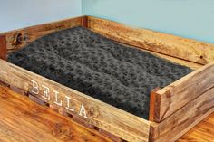 Personalized Dog Bed by PalletArtsCo on Etsy https://www.etsy.com/listing/181017004/personalized-dog-bed