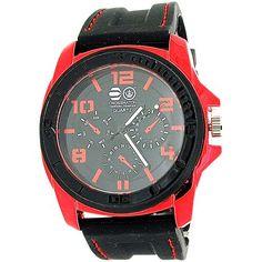 Cross Hatch Gents Chrono Effect Metallic Red Bezel Black Silicone Watch Casio Watch, Quartz, Watches, Metallic, Accessories, Black, Red, Wristwatches, Black People