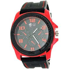 Cross Hatch Gents Chrono Effect Metallic Red Bezel Black Silicone Watch CRS31B