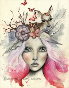 "New mixed media, pitt pastel, watercolor and acrylic ""Little Doe"" Follow me on FB Art of Viktorija Bowers-Adams and Instagram GA..."