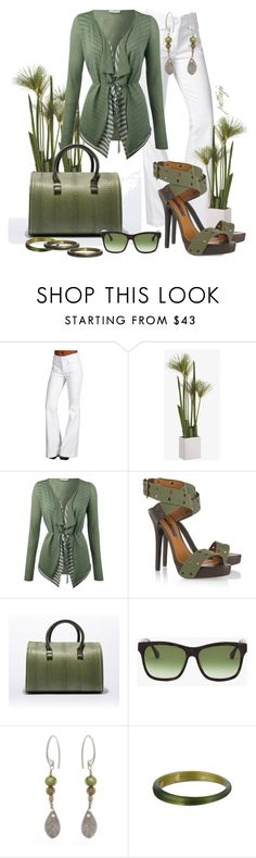 """""""Easy Being Green"""" by rockreborn ❤ liked on Polyvore featuring 7 For All Mankind, Oui, Ralph Lauren Collection, Elizabeth and James, La Corza by Sabo Designs, Alexis Bittar and green top"""