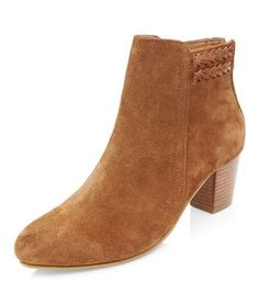 Tan Suede Plaited Trim Western Boots