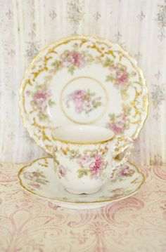 Gorgeous Antique 3 Piece Set AKD France Limoges Demitasse and Small Plate