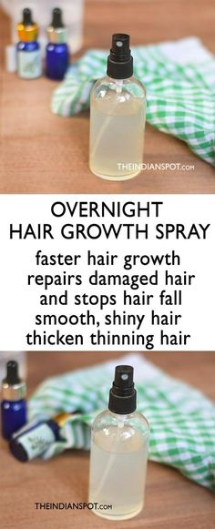 Who doesn't wish to have lustrous, thick and healthy hair? If you aren't naturally blessed with thick hair or if you are suffering from hair issues like hair fall, stunt hair growth, hair breakage etc. its time you try some natural and effective hair reme Homemade Hair Spray, Overnight Hair Growth, Overnight Hairstyles, Essential Oils For Hair, Hair Remedies For Growth, Thinning Hair Remedies, Fast Hairstyles, Natural Hairstyles, Girl Hairstyles