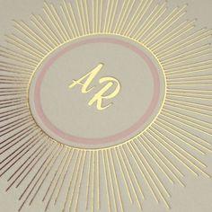 #gold #foilstamp #wedding #invitation #monogram #foilshimmer #design #stationery #details #zoriestyle