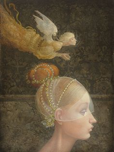 """Angel Unobserved by James C. Christensen. Like most teenagers, this girl is mostly aware of things that concern herself. """"There's a veil between the girl she is and the woman she will become, and a veil obscuring, for now, her understanding of a higher power,"""" said the artist. """"The key is, we all have someone watching over us."""""""
