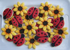 Sunflower and Lady Bug Cookies